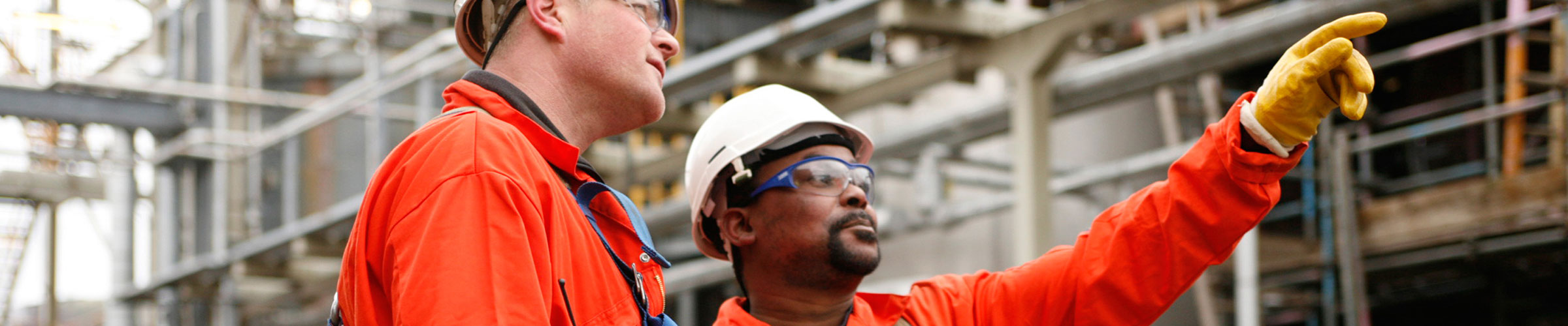 Safelift header image showing two men dress in construction clothing